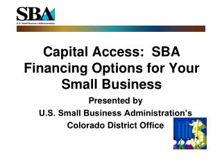 Capital Access:  SBA Financing Options for Your Small Business