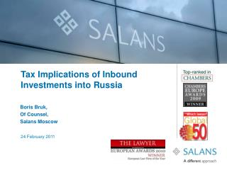 Tax Implications of Inbound Investments into Russia