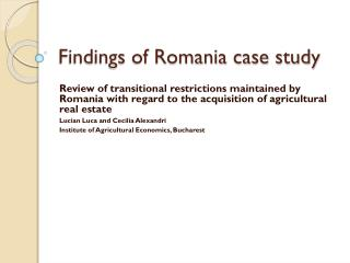 Findings of Romania case study