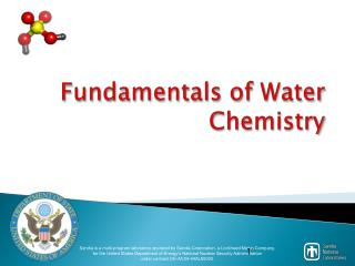 Fundamentals of Water Chemistry
