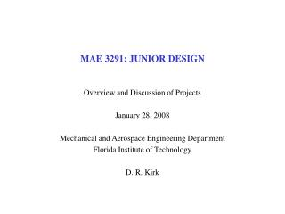 MAE 3291: JUNIOR DESIGN