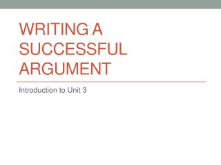 Writing a Successful Argument