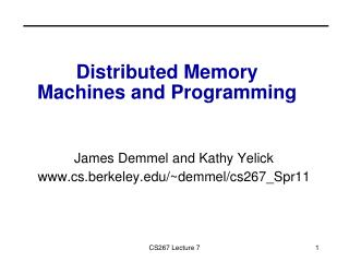 Distributed Memory  Machines and Programming