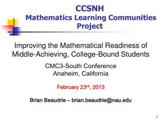 CCSNH   Mathematics Learning Communities Project