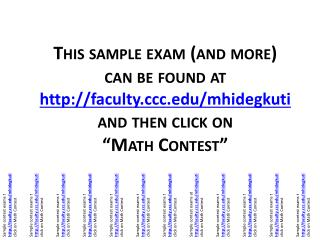 Sample contest exams at facultyc/mhidegkuti click on Math Contest
