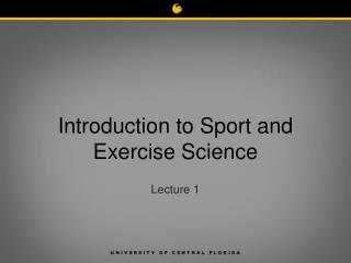 Introduction to Sport and Exercise Science