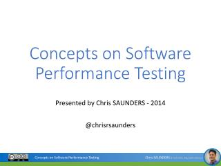 Concepts on Software Performance Testing