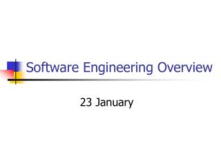 Software Engineering Overview