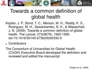 Towards a common definition of global health