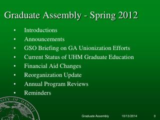 Graduate Assembly - Spring 2012