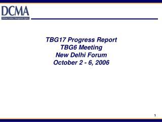 TBG17 Progress Report TBG6 Meeting  New Delhi Forum October 2 - 6, 2006