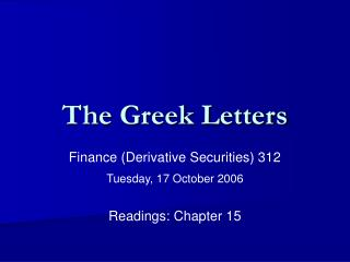 The Greek Letters