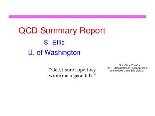 QCD Summary Report