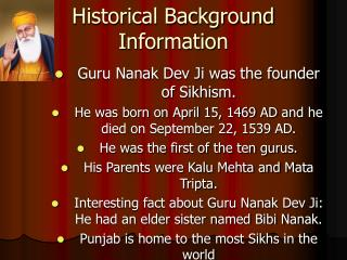 Historical Background Information