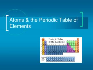Atoms & the Periodic Table of Elements