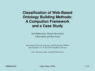 Classification of Web-Based  Ontology Building Methods:  A Compution Framework  and a Case Study