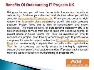 Benefits Of Outsourcing IT Projects UK