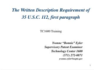 The Written Description Requirement of  35 U.S.C. 112, first paragraph