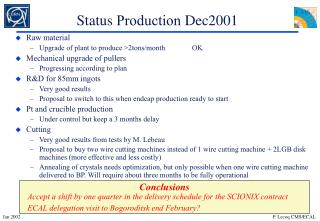 Status  Production  Dec2001