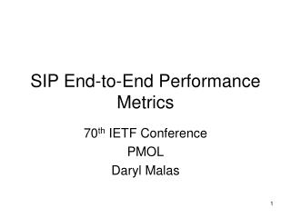 SIP End-to-End Performance Metrics
