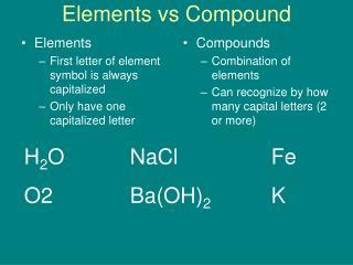 Elements vs Compound