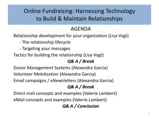 Online Fundraising: Harnessing Technology  to Build & Maintain Relationships