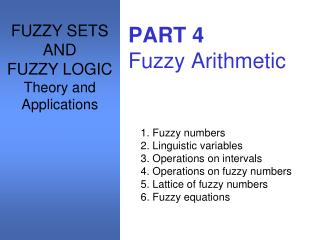 PART 4 Fuzzy Arithmetic