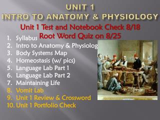 Unit 1  Intro to Anatomy & Physiology