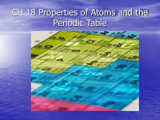CH 18 Properties of Atoms and the Periodic Table