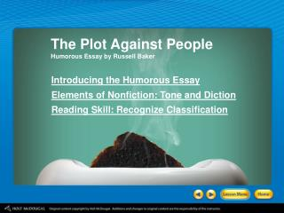 The Plot Against People Humorous Essay by Russell Baker