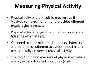 Measuring Physical Activity