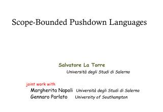 Scope- Bounded Pushdown Languages