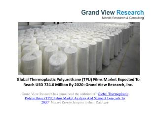 Thermoplastic Polyurethane (TPU) Films Market Size to 2020