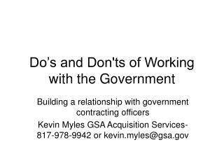 Do's and Don'ts of Working with the Government