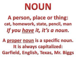NOUN A person, place or thing: cat, homework, state, pencil, man If you  have  it, it's a noun.