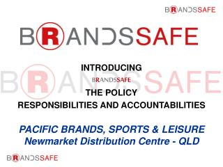 INTRODUCING B R ANDS SAFE THE POLICY RESPONSIBILITIES AND ACCOUNTABILITIES