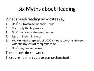 Six Myths about Reading