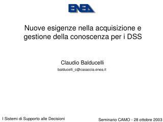 Nuove esigenze nella acquisizione e gestione della conoscenza per i DSS