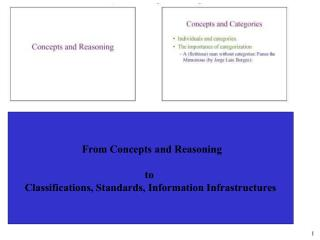 From Concepts and Reasoning to  Classifications, Standards, Information Infrastructures
