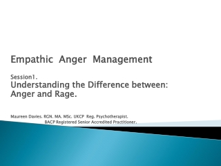 Empathic Anger Management Session1. Understanding the Difference between: Anger and Rage.