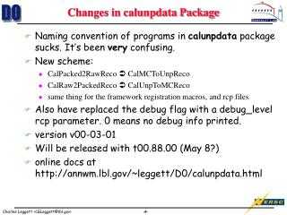 Changes in calunpdata Package