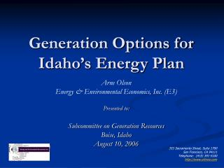 Generation Options for Idaho's Energy Plan