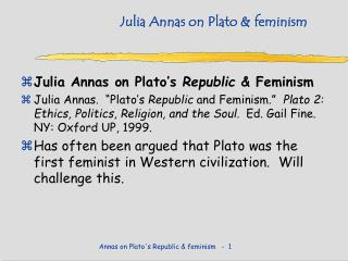 Julia Annas on Plato & feminism