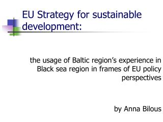 EU Strategy for sustainable development: