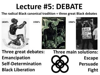Lecture #5: DEBATE The radical Black canonical tradition = three great Black debates