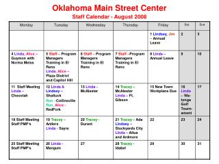 Oklahoma Main Street Center Staff Calendar - August 2008