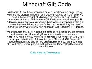 minecraft gift code