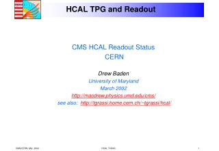 HCAL TPG and Readout