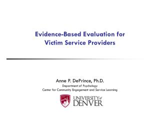 Evidence-Based Evaluation for  Victim Service Providers