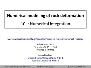 Numerical modeling of rock deformation 10 :: Numerical integration